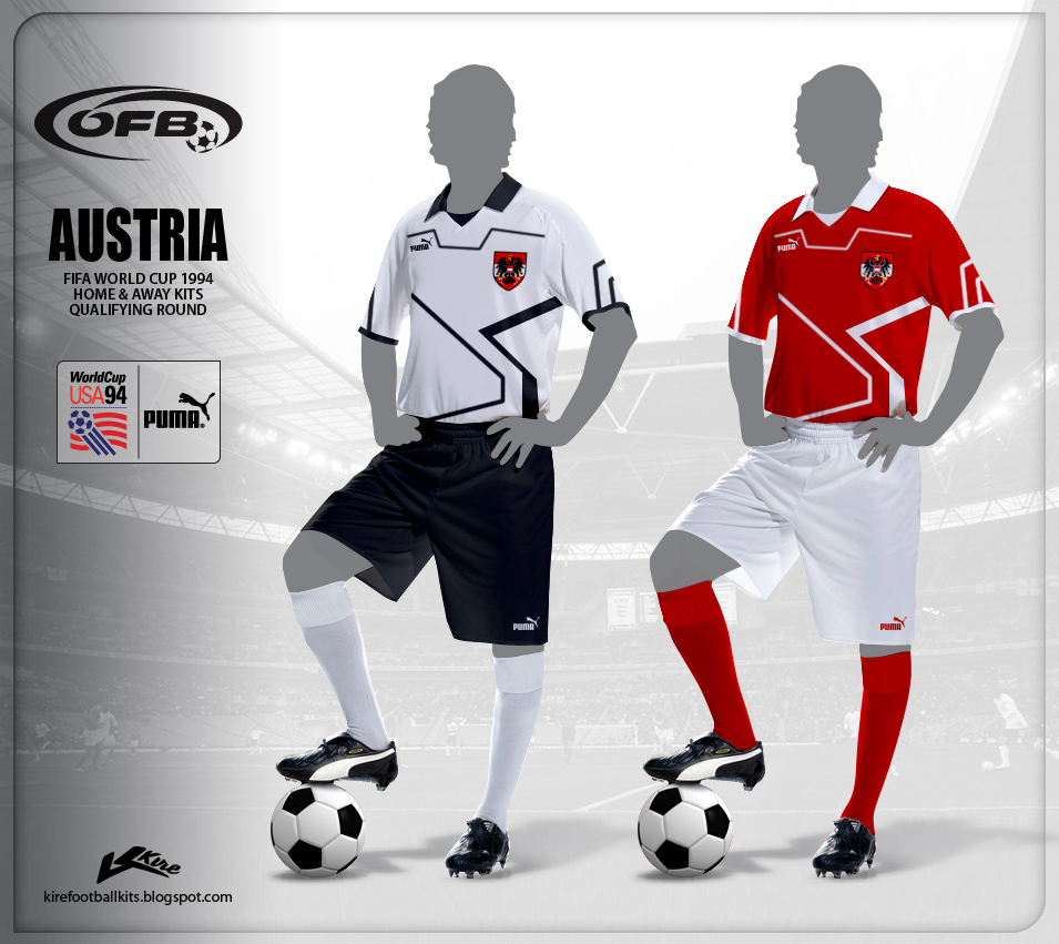 Austria Home and Away Kits World Cup 1994 Qualifiers