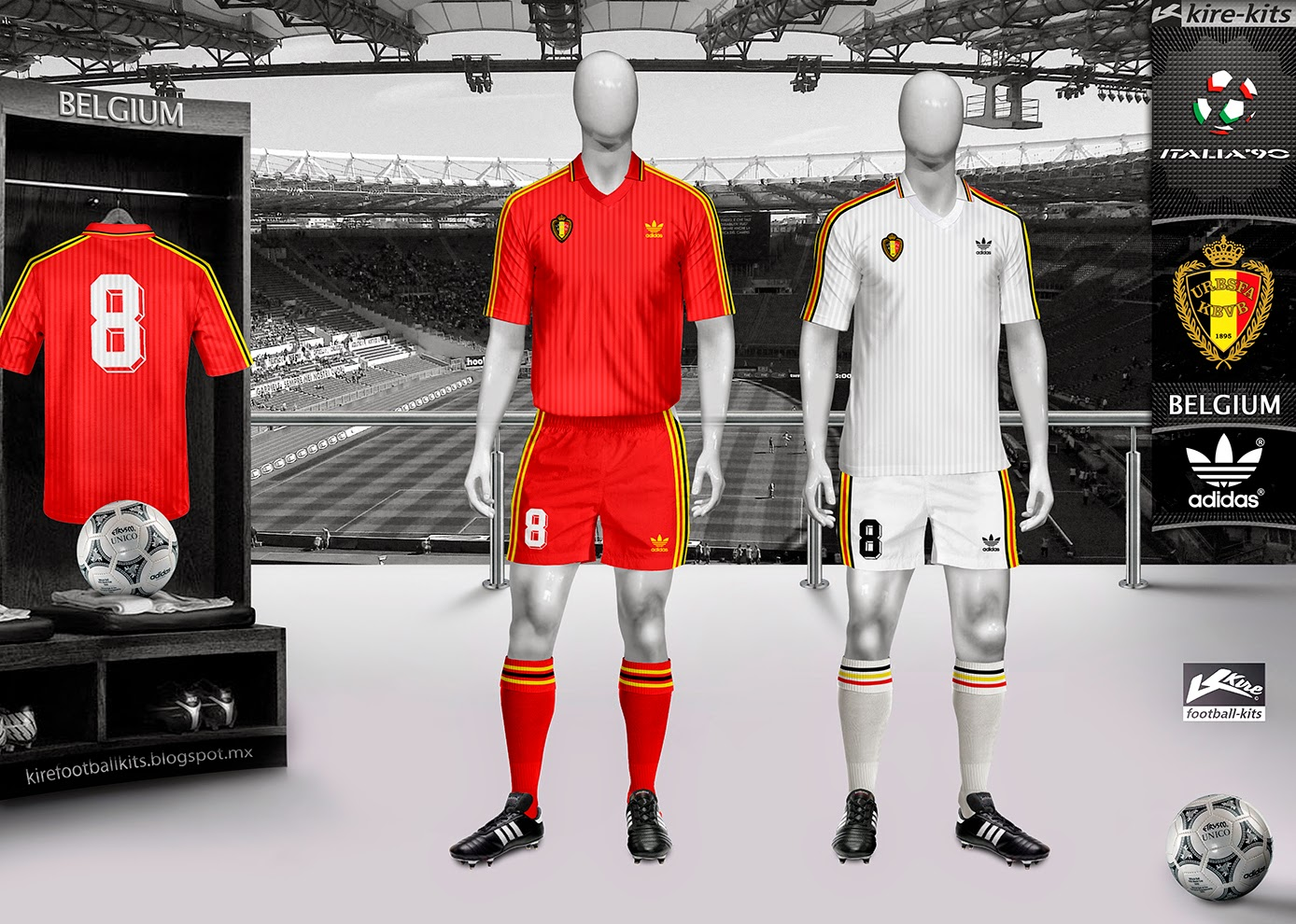 Belgium Home and Away Kits World Cup Italy 1990