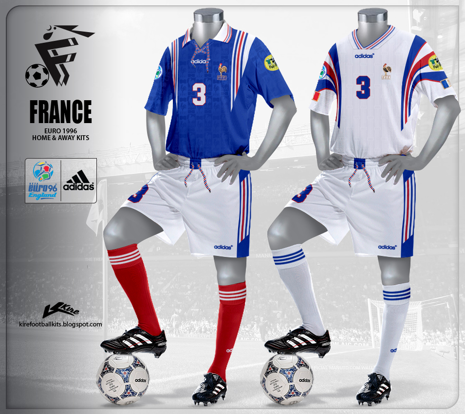 France Home and Away Kits Euro 1996