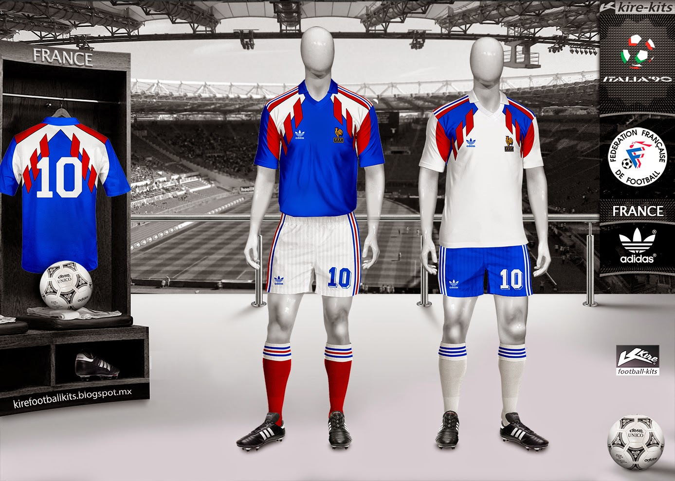France Home and Away Kits World Cup Italy 1990