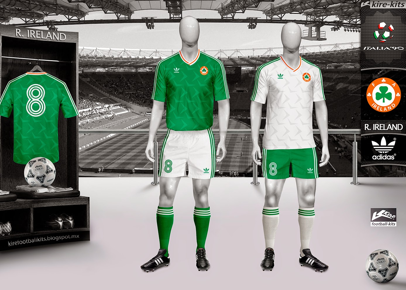 Ireland Home and Away Kits World Cup Italy 1990