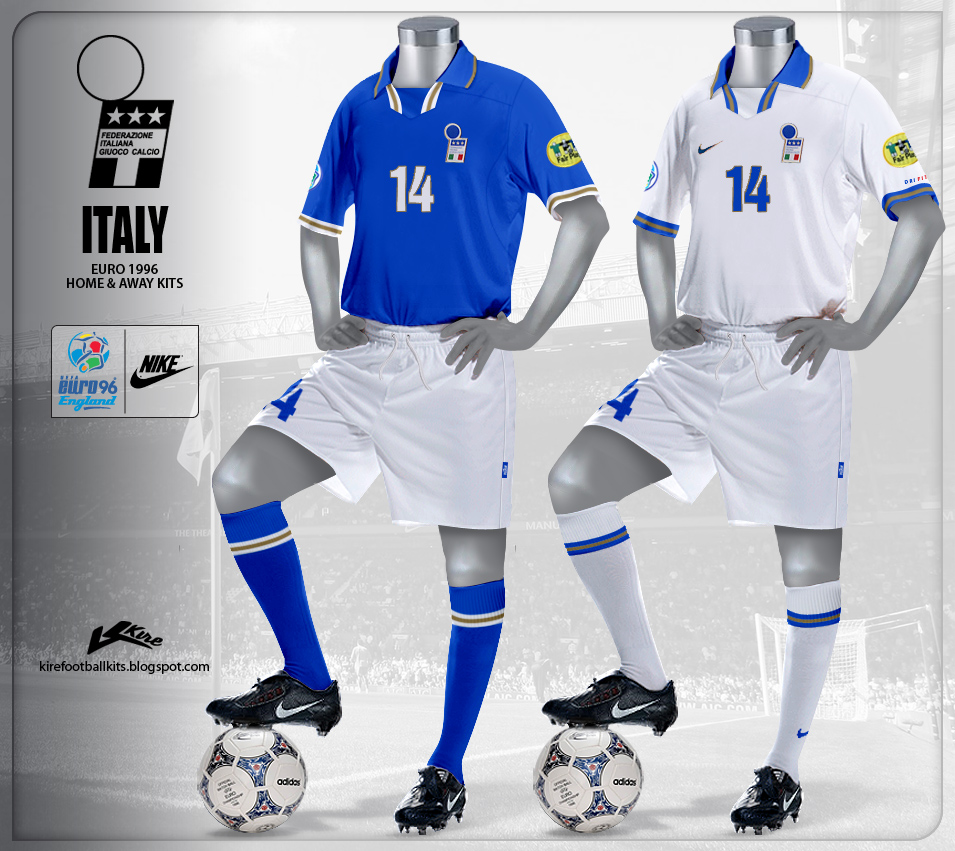 Italy Home and Away Kits Euro 1996