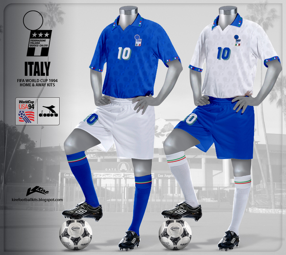 Italy Home and Away Kits World Cup 1994