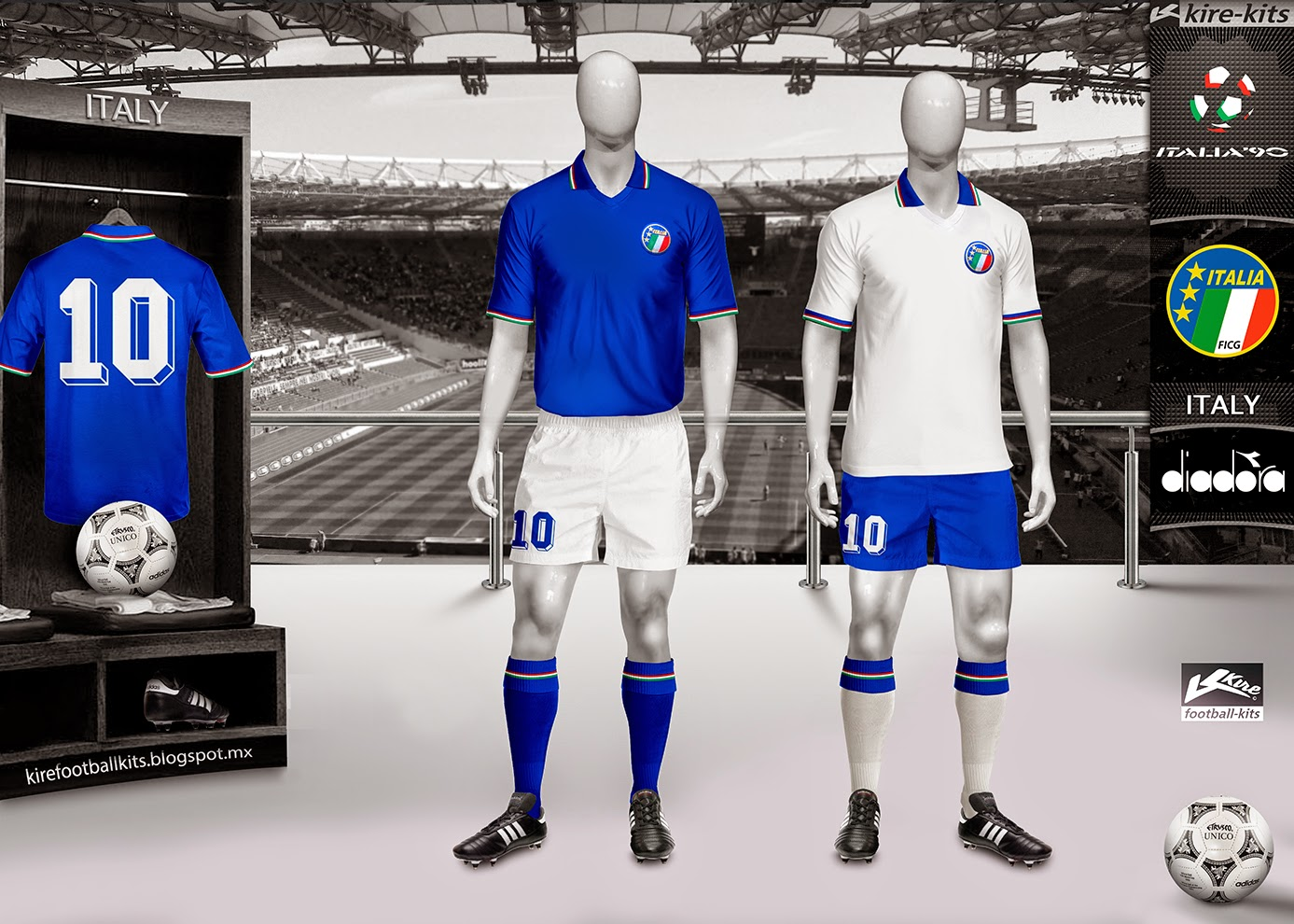 Italy Home and Away Kits World Cup Italy 1990