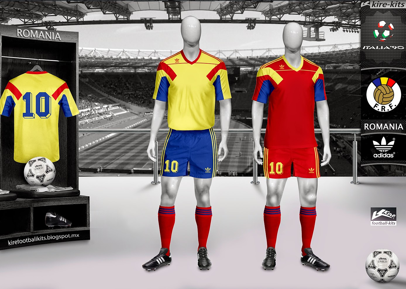 Romania Home and Away Kits World Cup Italy 1990
