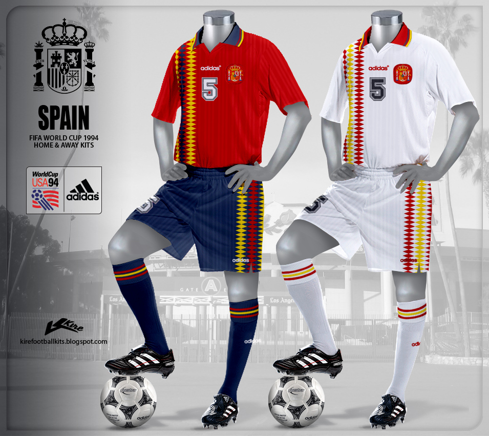 Spain Home and Away Kits World Cup 1994