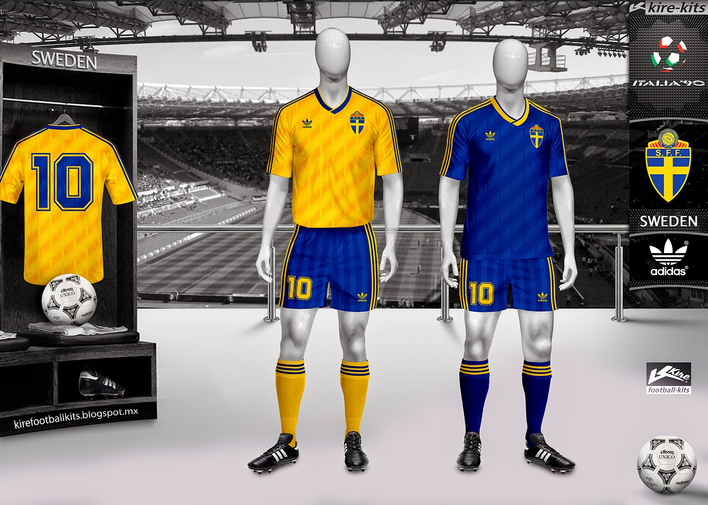 Sweden Home and Away Kits World Cup Italy 1990